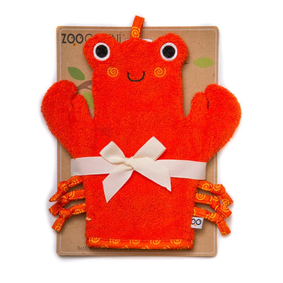 ZOOCCHINI Baby Snow Terry Bath Mitt - Charlie the Crab-1