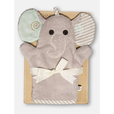 ZOOCCHINI Baby Snow Terry Bath Mitt - Elle the Elephant-1