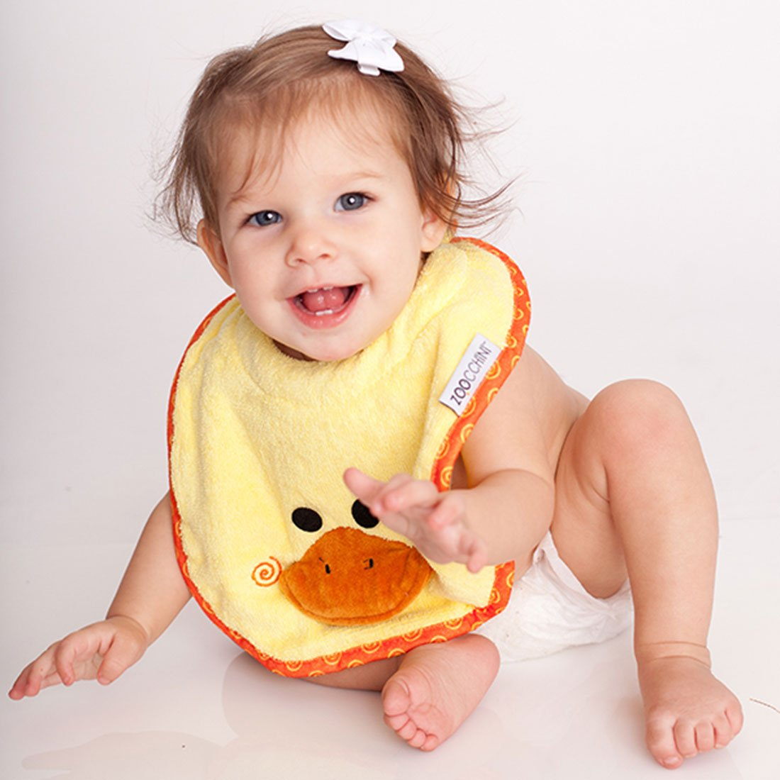 ZOOCCHINI Baby Snow Terry Feeding Bib - Puddles the Duck-1
