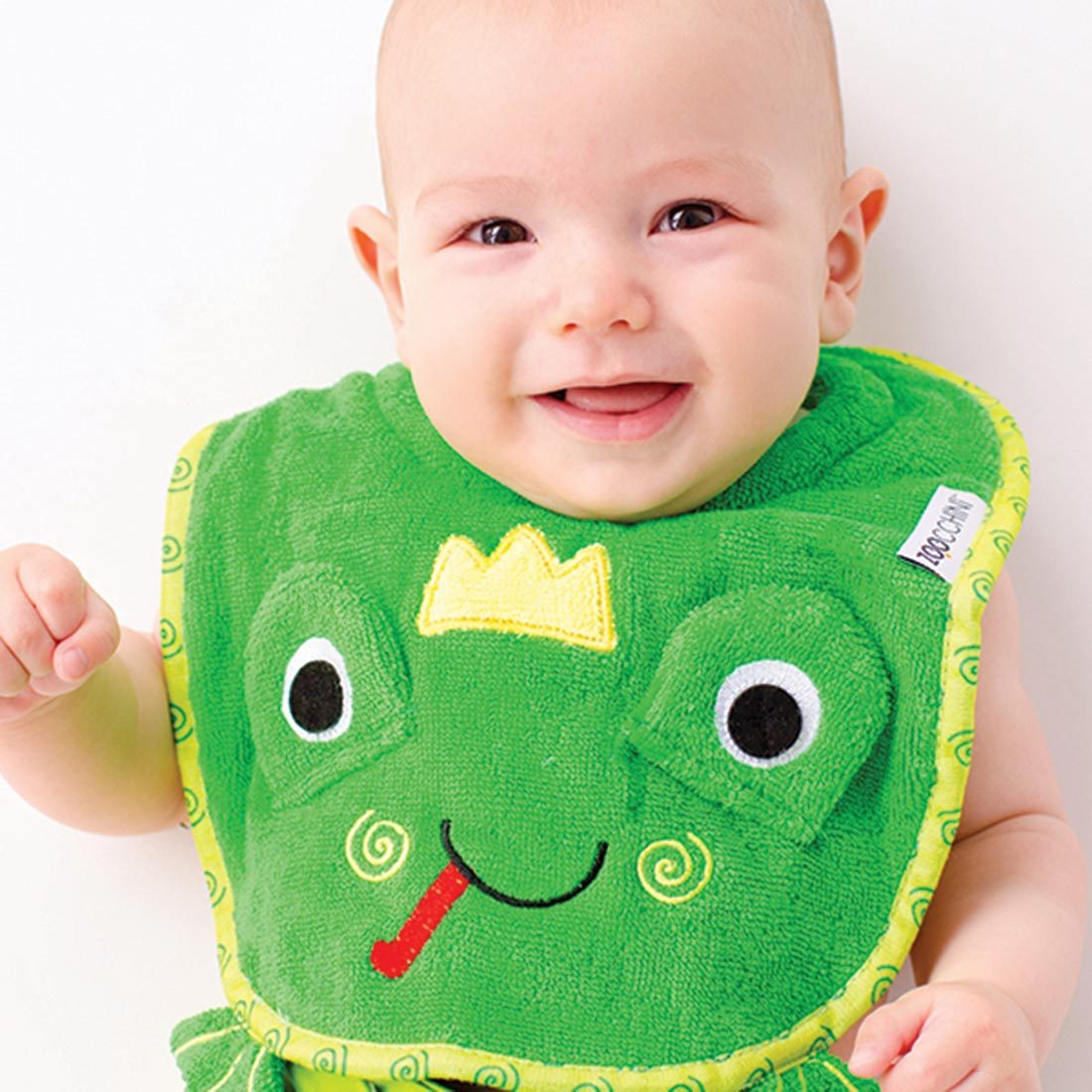 Zoocchini Baby Snow Terry Feeding Bib Flippy The Frog