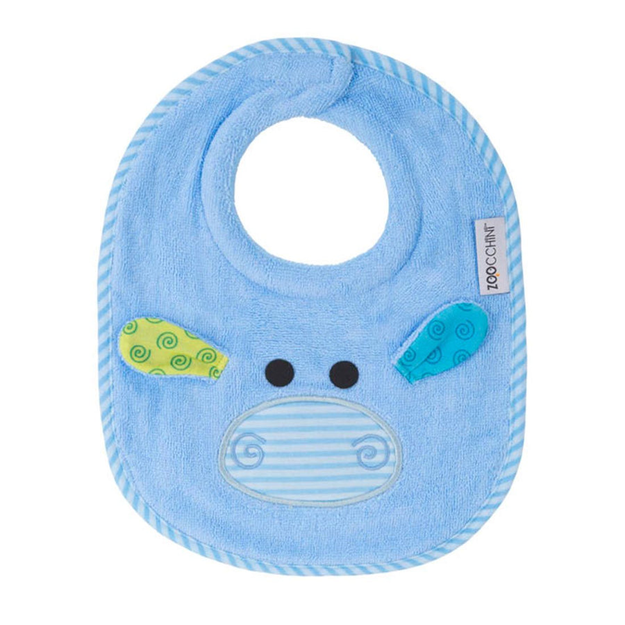 ZOOCCHINI Baby Snow Terry Feeding Bib - Henry the Hippo-1