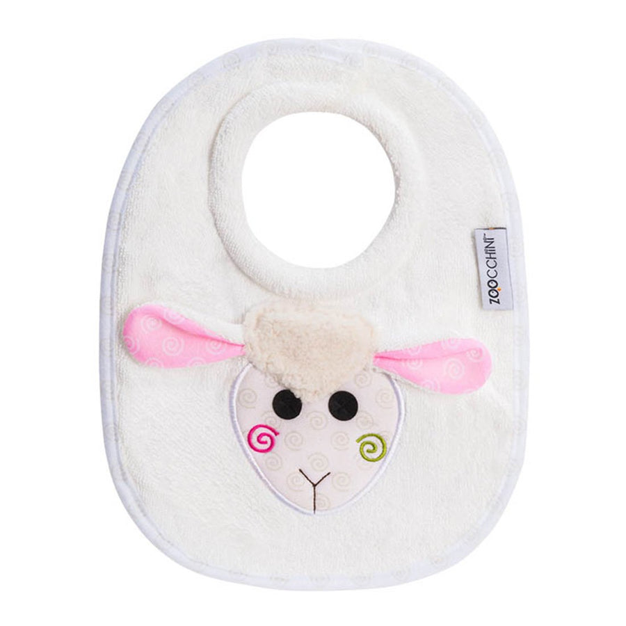 ZOOCCHINI Baby Snow Terry Feeding Bib - Lola the Lamb-1