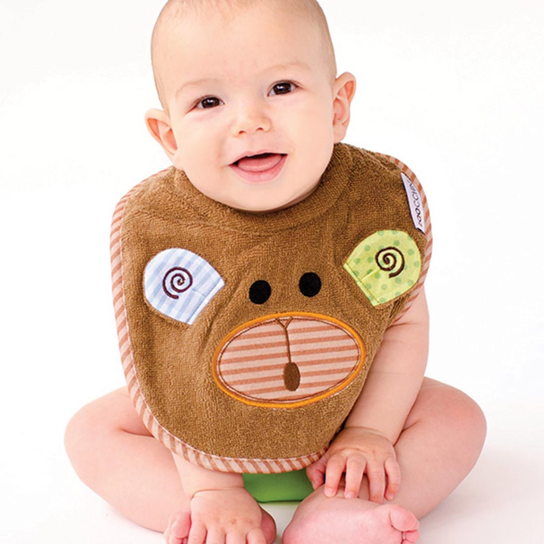 ZOOCCHINI Baby Snow Terry Feeding Bib - Max the Monkey