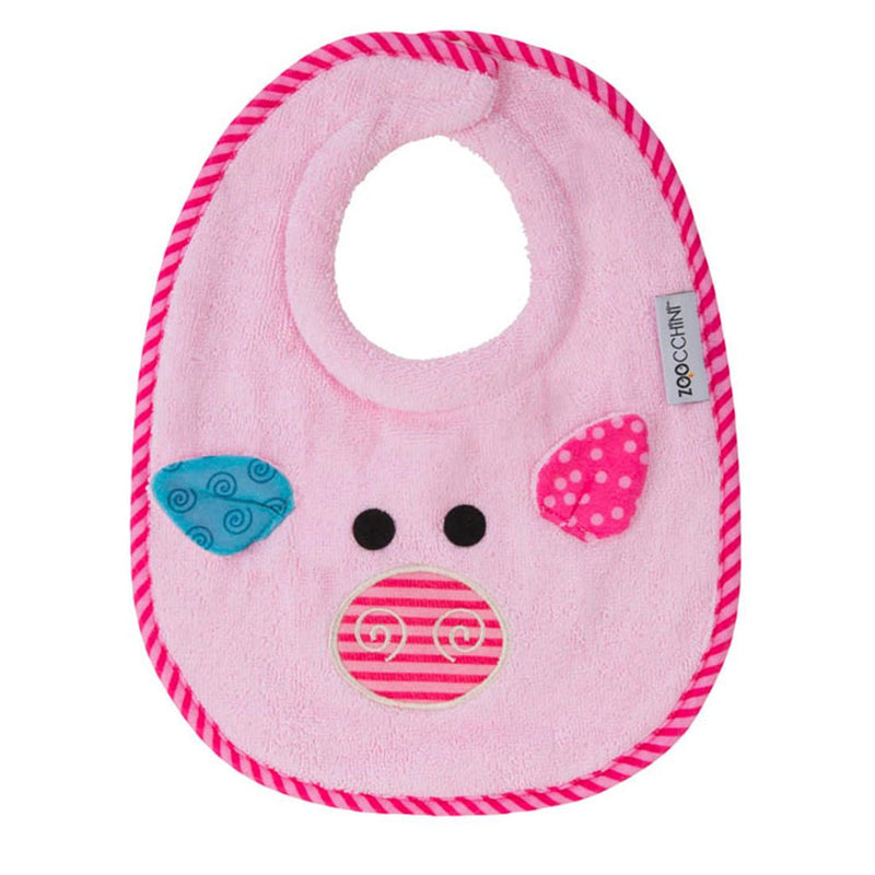 ZOOCCHINI Baby Snow Terry Feeding Bib - Pinky the Piglet-1