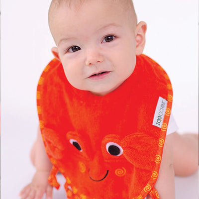 ZOOCCHINI Baby Snow Terry Feeding Bib - Charlie the Crab-1