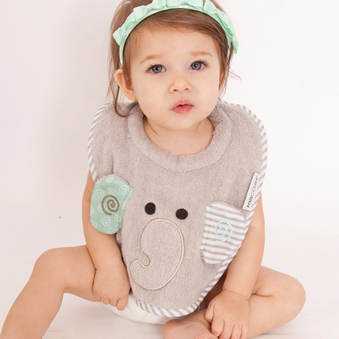 ZOOCCHINI Baby Snow Terry Feeding Bib - Elle the Elephant