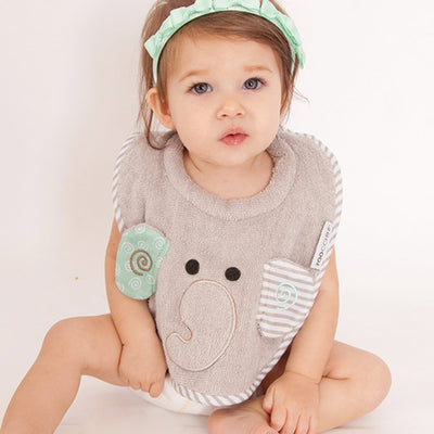 ZOOCCHINI Baby Snow Terry Feeding Bib - Elle the Elephant-1