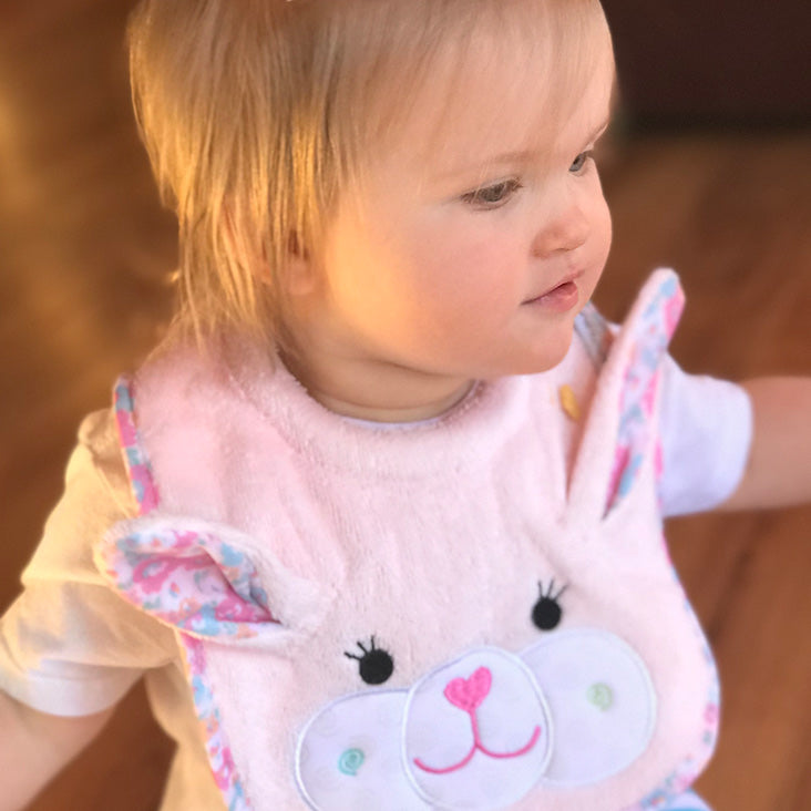 ZOOCCHINI Baby Snow Terry Feeding Bib - Beatrice the Bunny