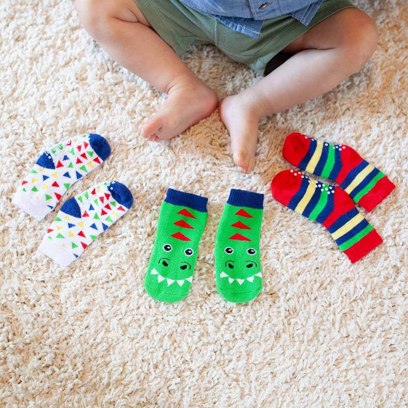 ZOOCCHINI 3 Piece Comfort Terry Socks Set - Devin the Dinosaur