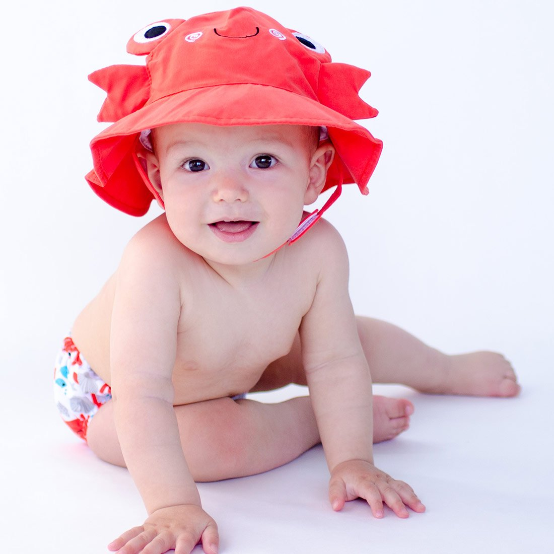 ZOOCCHINI UPF50+ Baby Swim Diaper & Sun Hat Set - Charlie the Crab-1