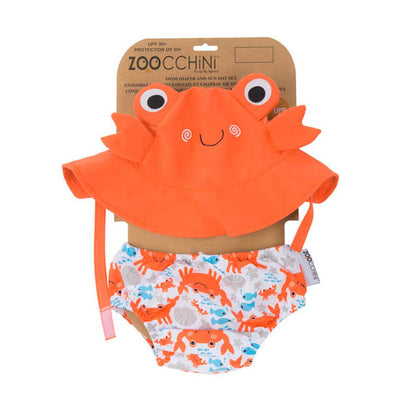 ZOOCCHINI UPF50+ Baby Swim Diaper & Sun Hat Set - Charlie the Crab-4