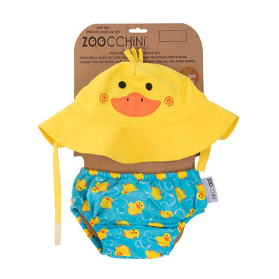 ZOOCCHINI UPF50+ Baby Swim Diaper & Sun Hat Set - Puddles the Duck-4