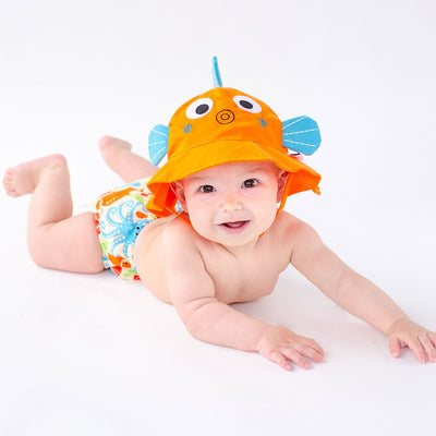 ZOOCCHINI UPF50+ Baby Swim Diaper & Sun Hat Set - Sushi the Fish-1