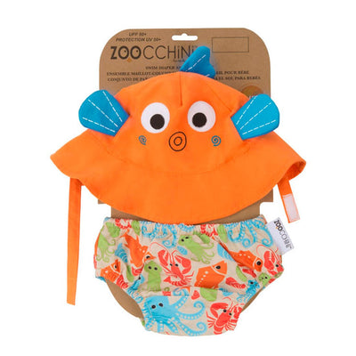 ZOOCCHINI UPF50+ Baby Swim Diaper & Sun Hat Set - Sushi the Fish-3