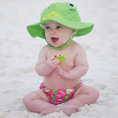 ZOOCCHINI UPF50+ Baby Swim Diaper & Sun Hat Set - Flippy the Frog-1