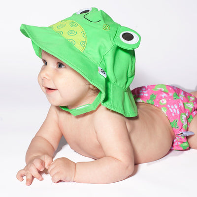 ZOOCCHINI UPF50+ Baby Swim Diaper & Sun Hat Set - Flippy the Frog-2