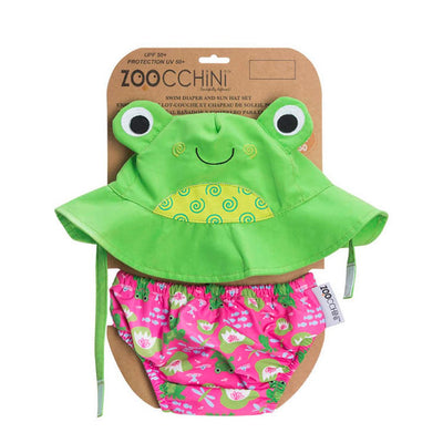 ZOOCCHINI UPF50+ Baby Swim Diaper & Sun Hat Set - Flippy the Frog-3
