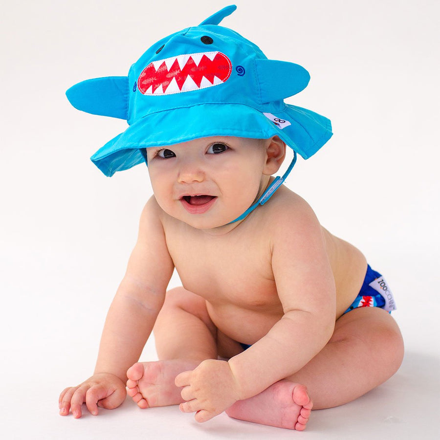 ZOOCCHINI UPF50+ Baby Swim Diaper & Sun Hat Set - Sherman the Shark-1
