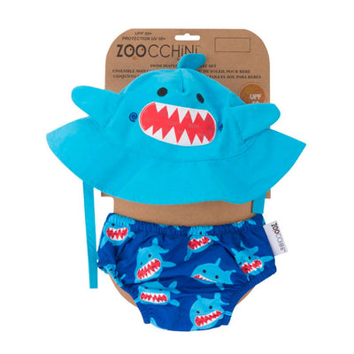 ZOOCCHINI UPF50+ Baby Swim Diaper & Sun Hat Set - Sherman the Shark-4