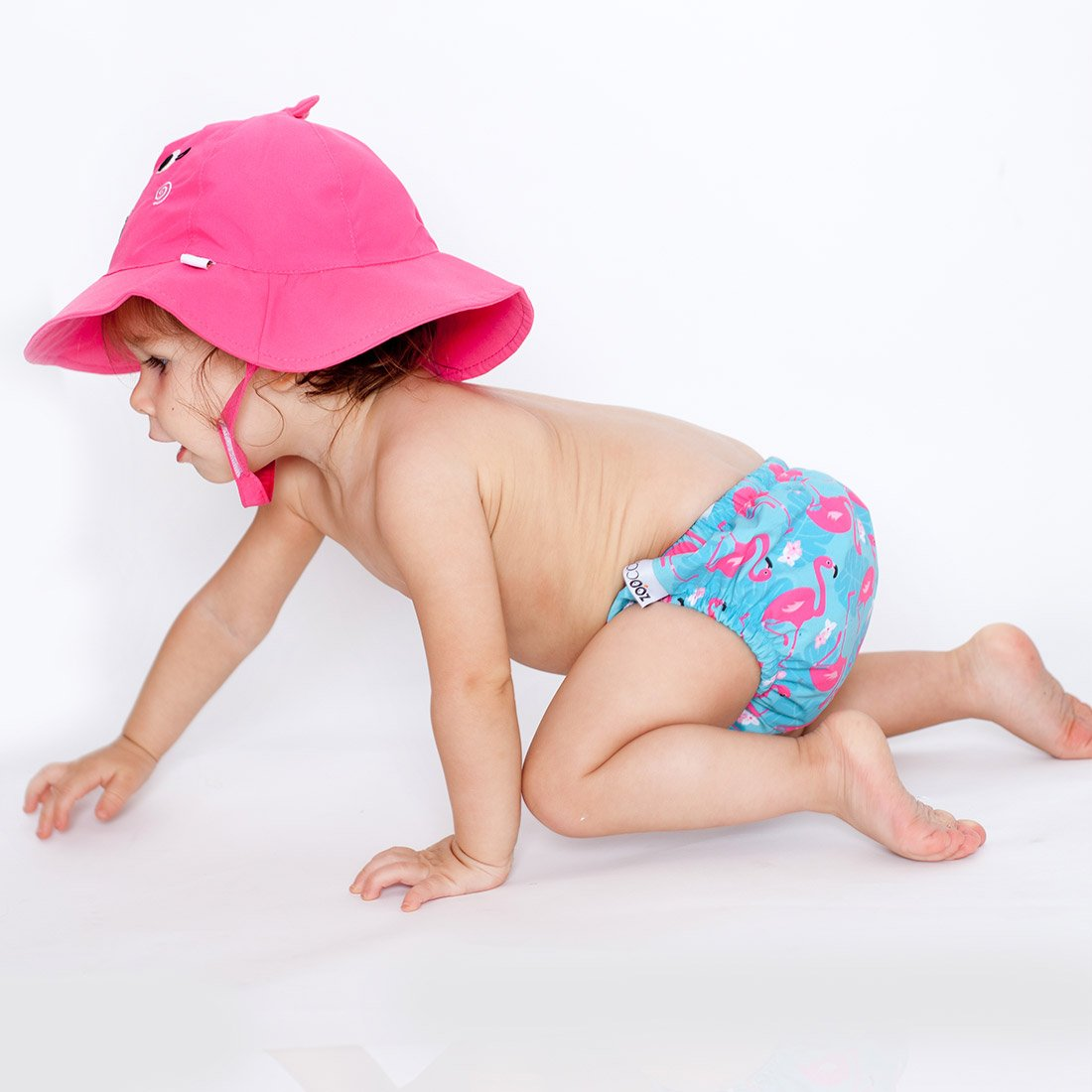 ZOOCCHINI UPF50+ Baby Swim Diaper & Sun Hat Set - Franny the Flamingo-1