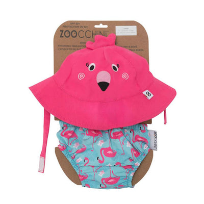 ZOOCCHINI UPF50+ Baby Swim Diaper & Sun Hat Set - Franny the Flamingo-4
