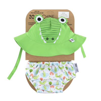 ZOOCCHINI UPF50+ Baby Swim Diaper & Sun Hat Set - Aidan the Alligator1