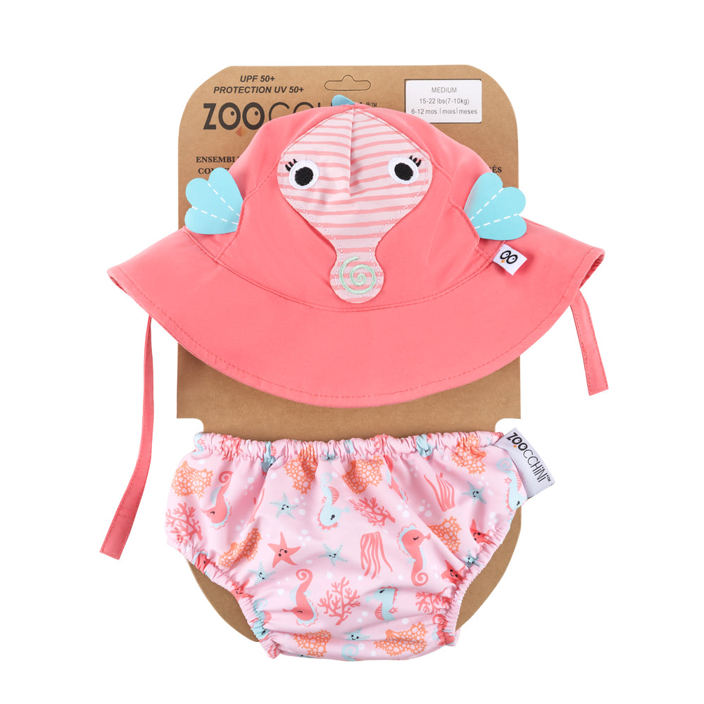 ZOOCCHINI UPF50+ Baby Swim Diaper & Sun Hat Set - Sally the Seahorse1