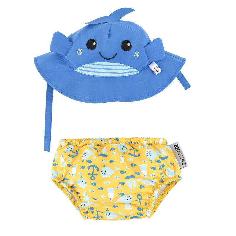 ZOOCCHINI UPF50+ Baby Swim Diaper & Sun Hat Set - Willy the Whale1