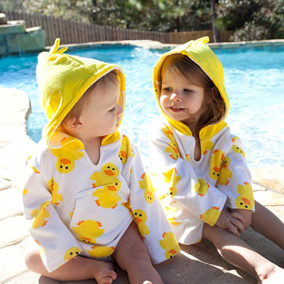 ZOOCCHINI UPF50+ Bath & Swim Coverup - Puddles the Duck-2