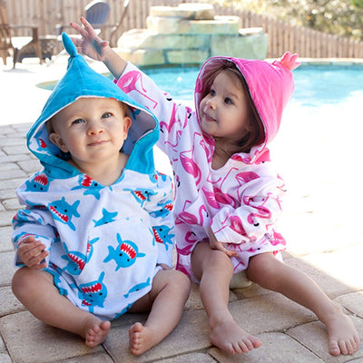 ZOOCCHINI UPF50+ Bath & Swim Coverup - Sherman the Shark-2