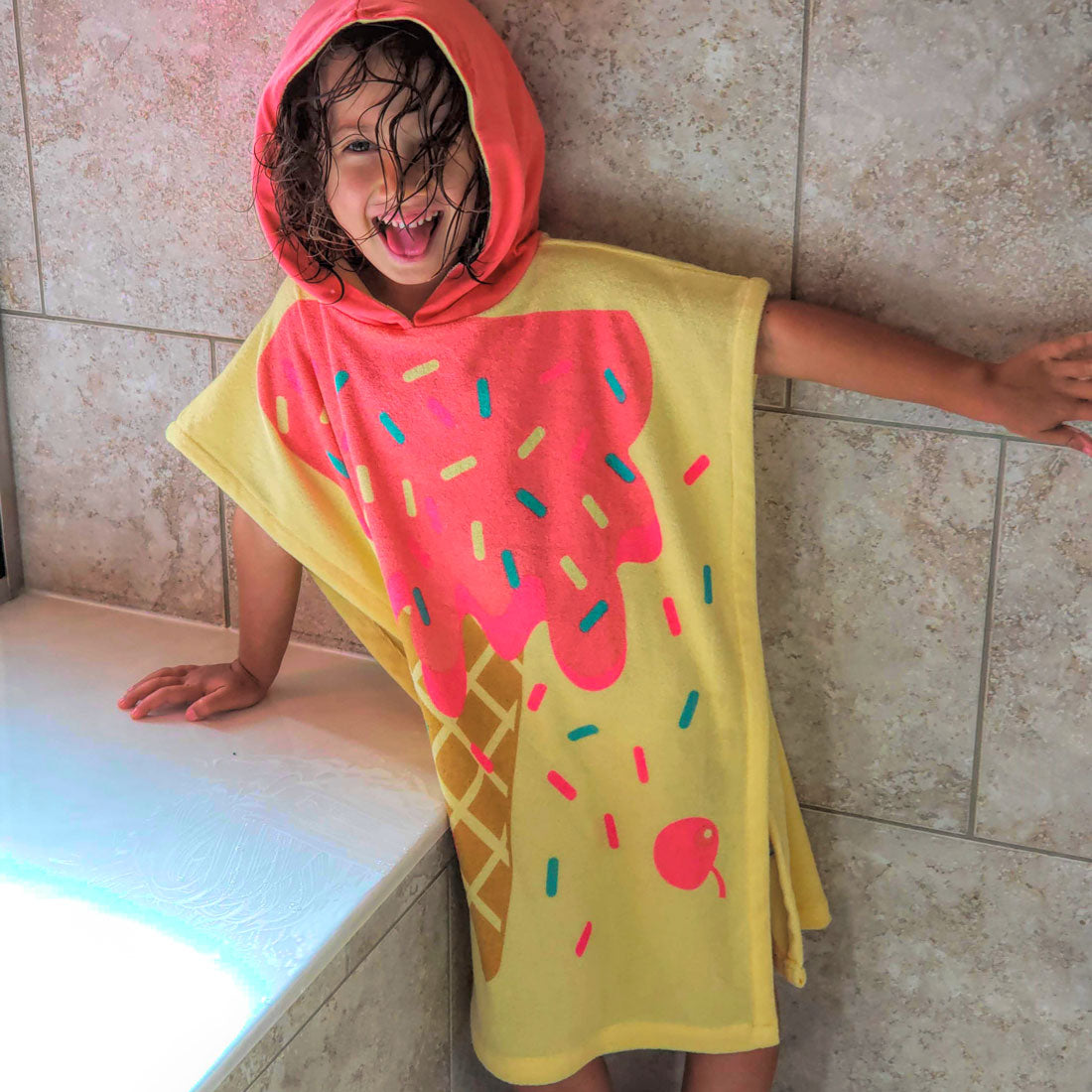 ZOOCCHINI UPF50+ Kids Hooded Poncho - I Scream You Scream