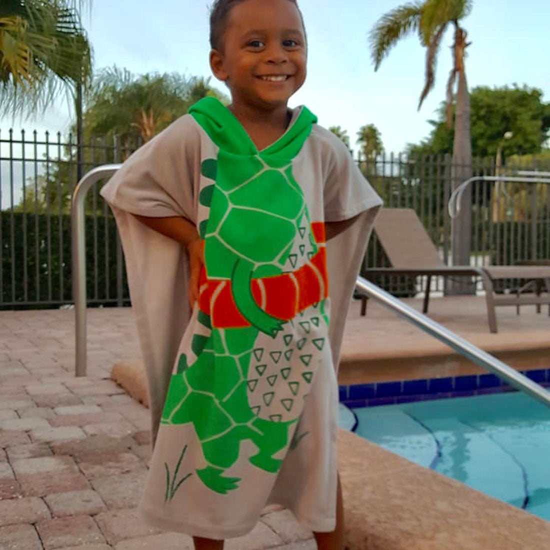 ZOOCCHINI UPF50+ Kids Hooded Poncho - Aidan the Alligator