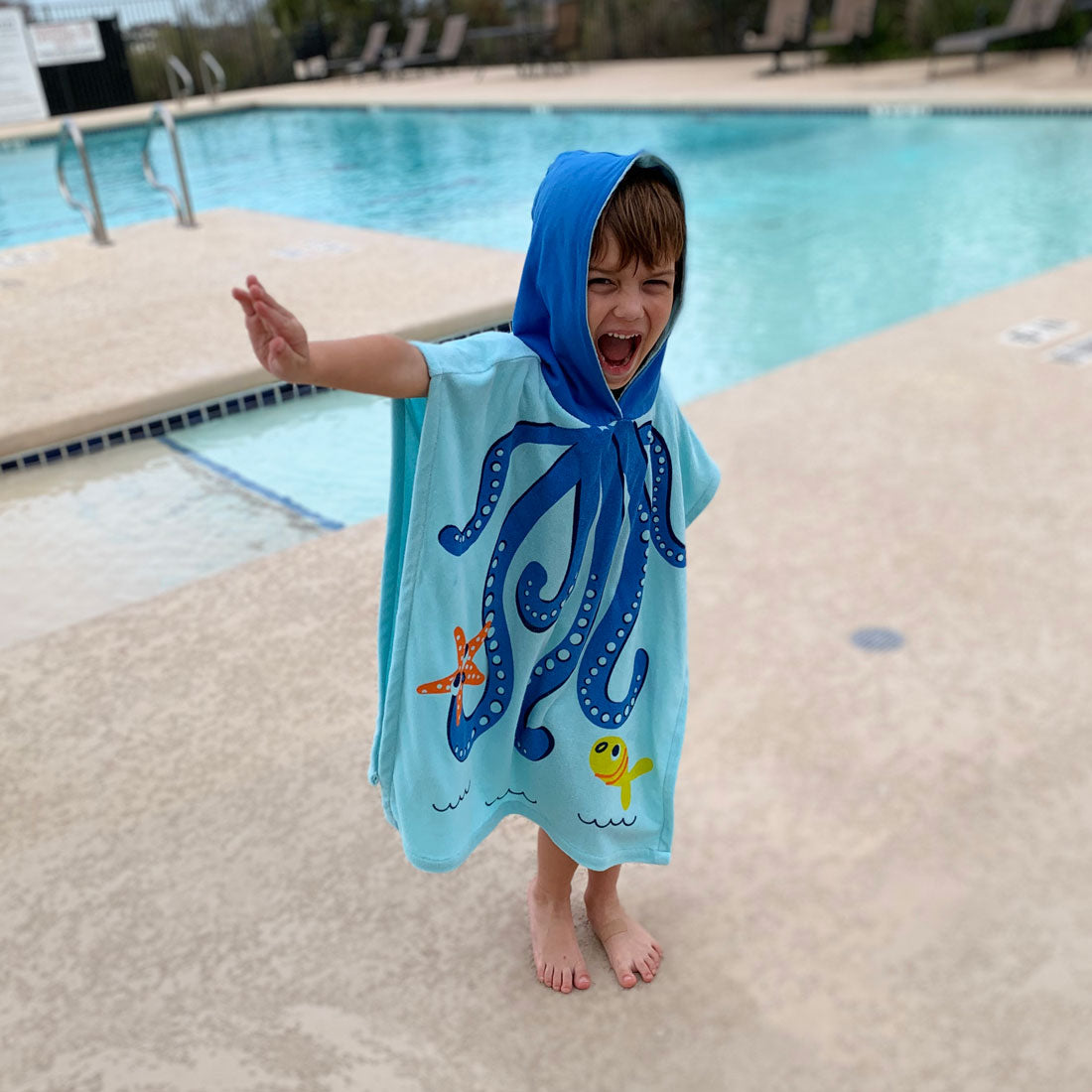ZOOCCHINI UPF50+ Kids Hooded Poncho - Owie the Octopus