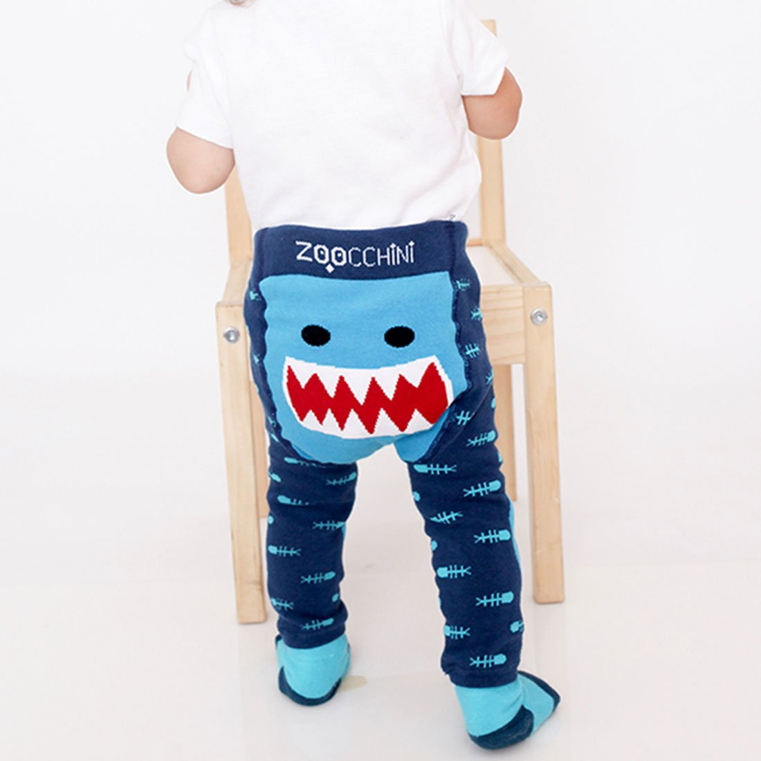 ZOOCCHINI grip+easy™ Comfort Crawler Legging & Socks Set - Sherman the Shark-1