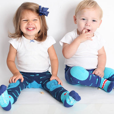 ZOOCCHINI grip+easy™ Comfort Crawler Legging & Socks Set - Sherman the Shark-3