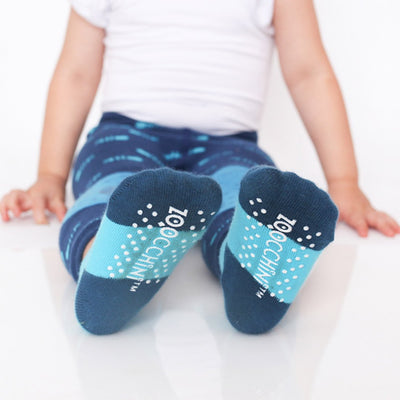 ZOOCCHINI grip+easy™ Comfort Crawler Legging & Socks Set - Sherman the Shark-2
