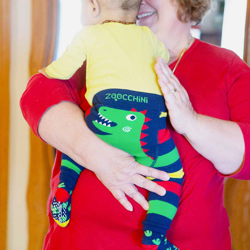 ZOOCCHINI grip+easy™ Comfort Crawler Legging & Socks Set - Devin the Dinosaur