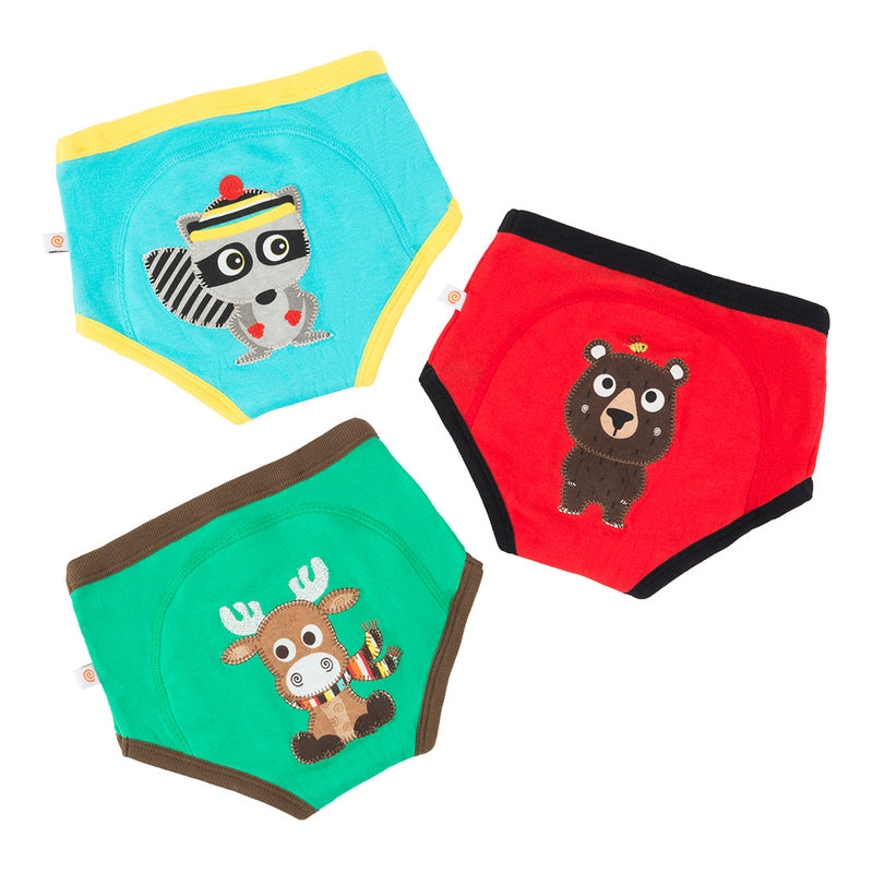 ZOOCCHINI Boys 3 Piece Organic Potty Training Pants Set - Forest Chums