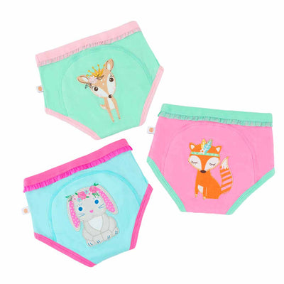 ZOOCCHINI Girls 3 Piece Organic Potty Training Pants Set - Woodland Princesses