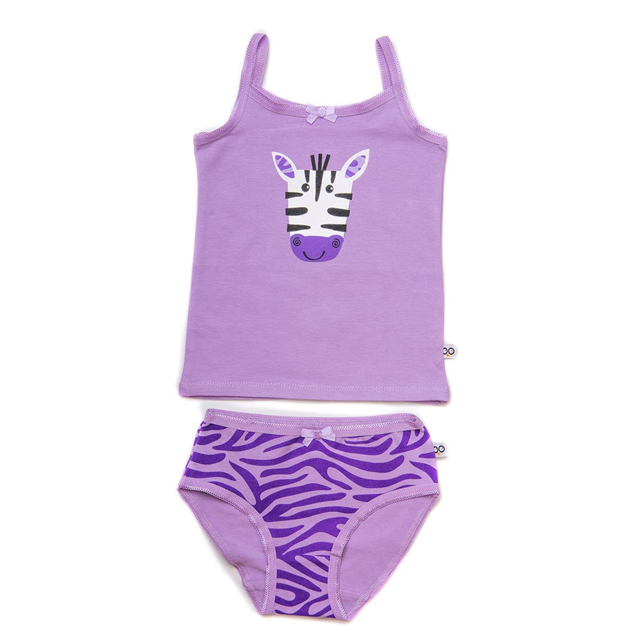 ZOOCCHINI Girls 2 Piece Organic Cami/Panty Set - Ziggy the Zebra-1