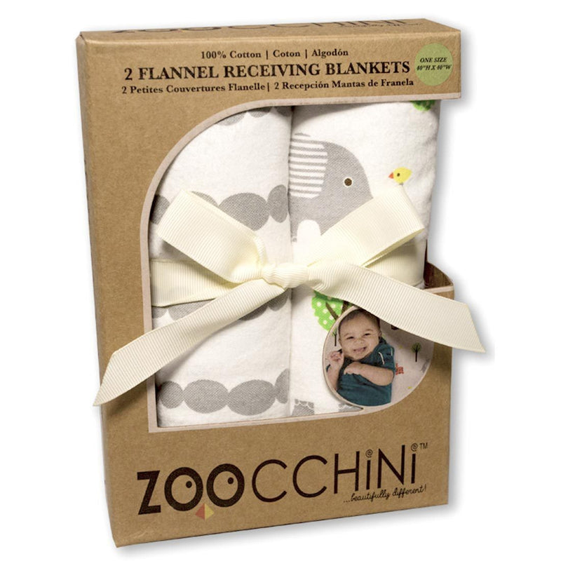 ZOOCCHINI 2 Pack 100% Cotton Candy Receiving Blankets - Elle the Elephant-1