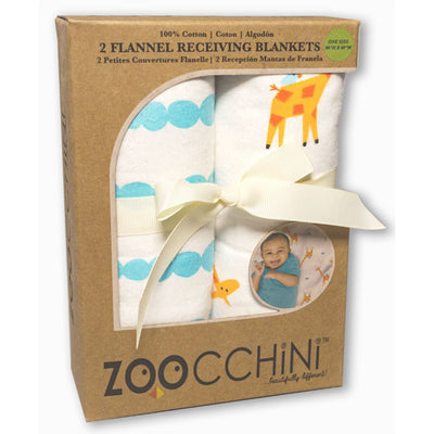 ZOOCCHINI 2 Pack 100% Cotton Candy Receiving Blankets - Jaime the Giraffe-2