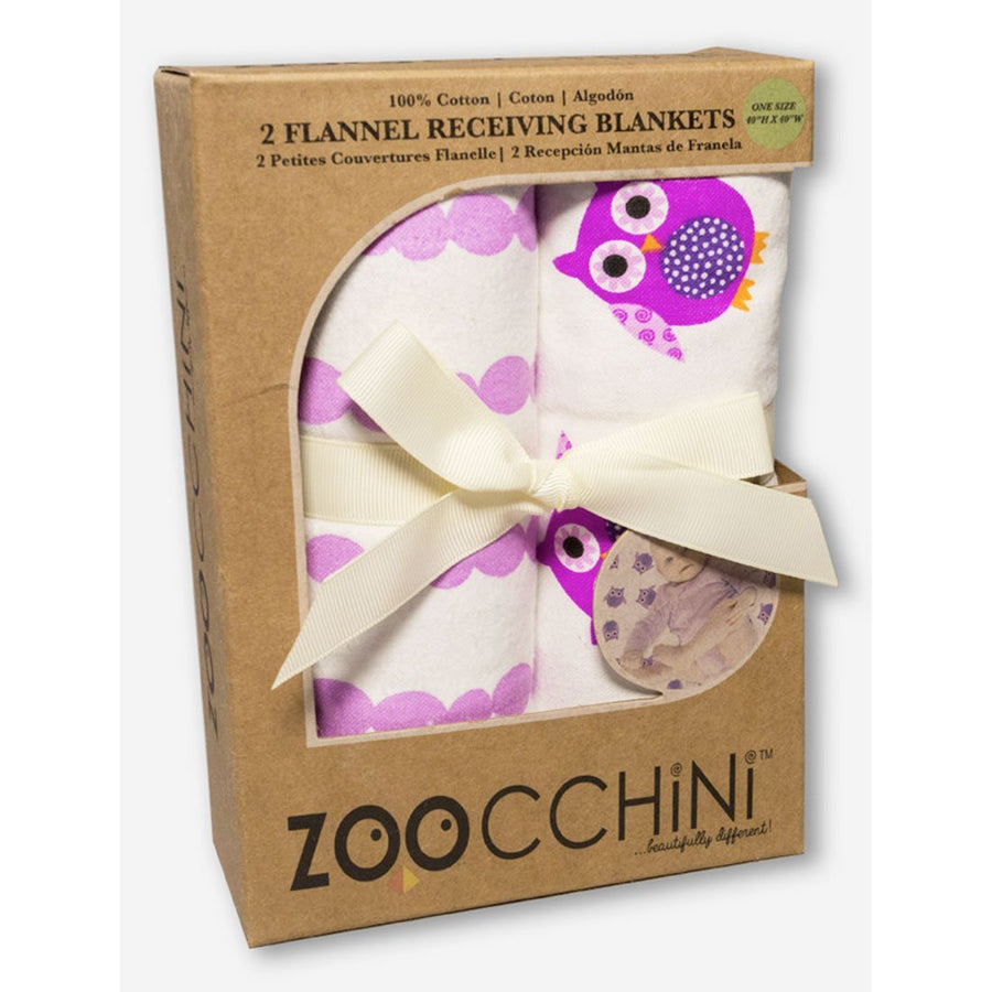 ZOOCCHINI 2 Pack 100% Cotton Candy Receiving Blankets - Olive the Owl-1