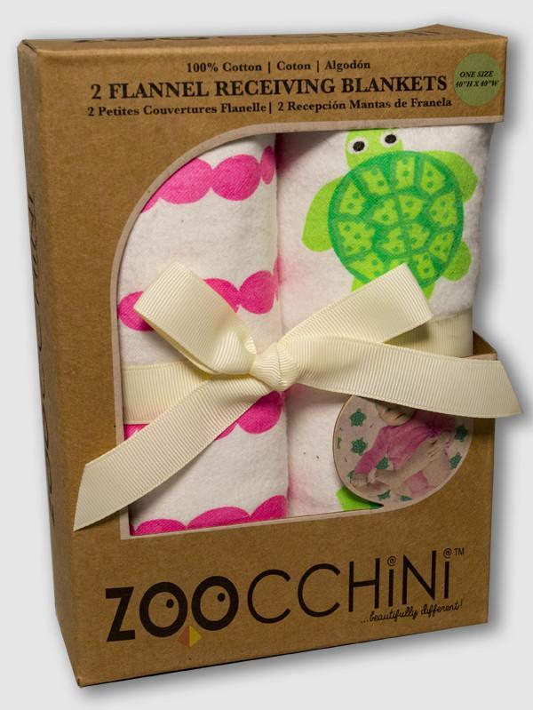 ZOOCCHINI 2 Pack 100% Cotton Candy Receiving Blankets - Tammy the Turtle-1