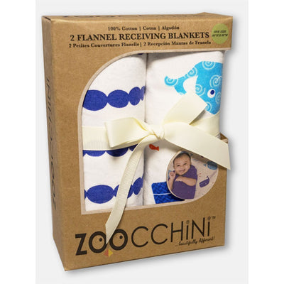 ZOOCCHINI 2 Pack 100% Cotton Candy Receiving Blankets - Willy the Whale-2