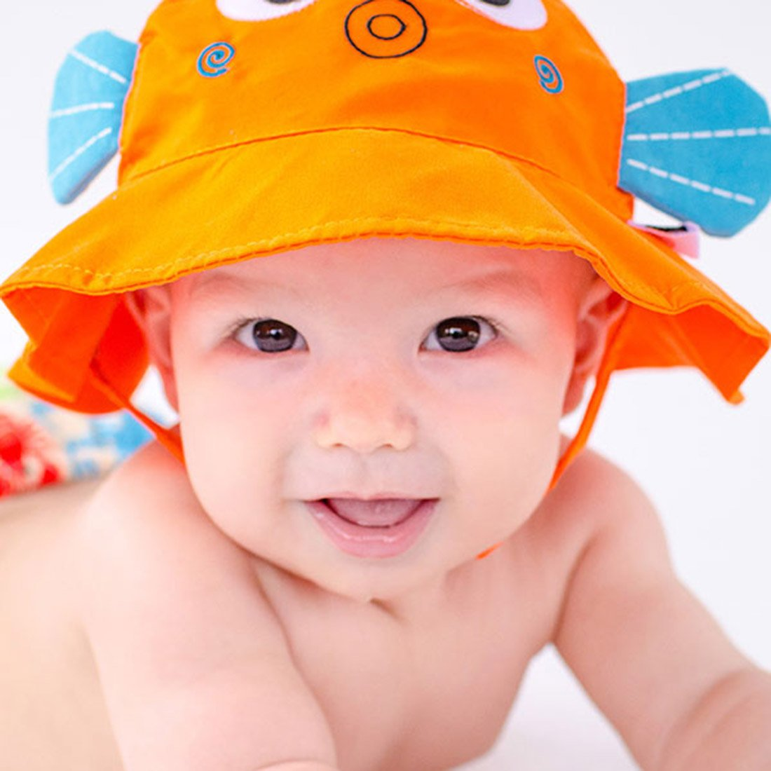 Newborn Baby Toddler UPF50+ Sunhat with brim & ties  Animal