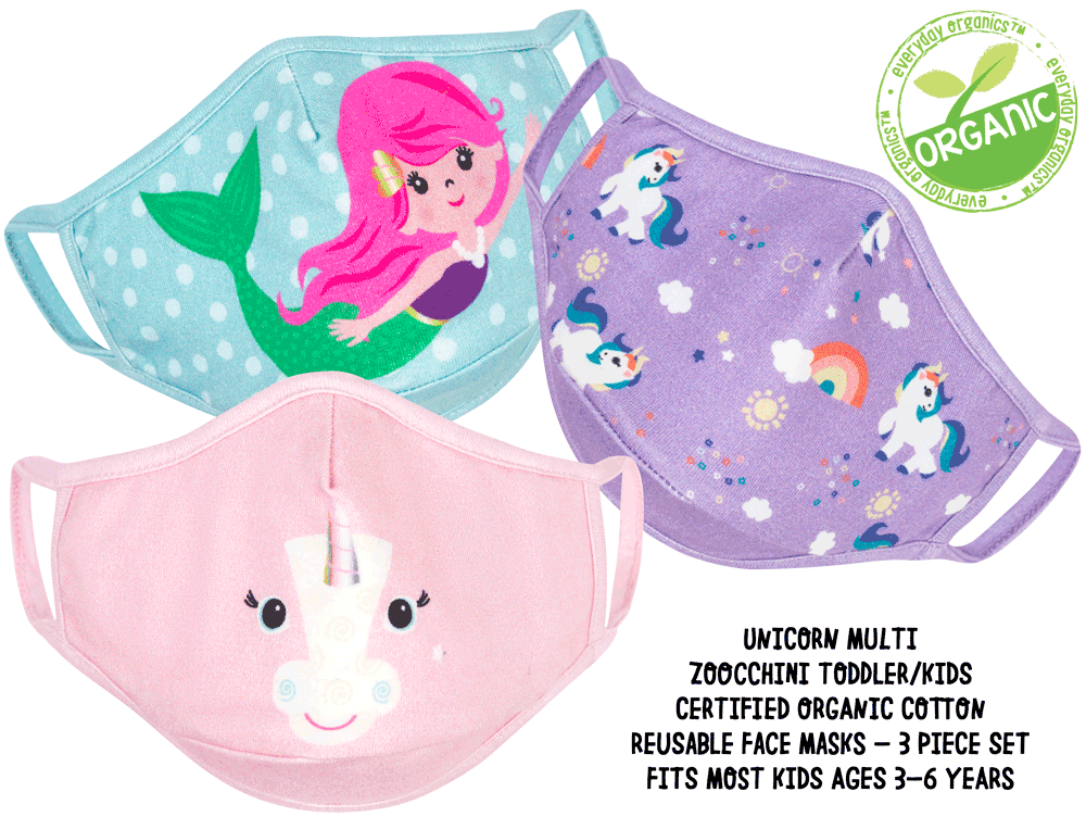 ZOOCCHINI Toddler/Kids 3 Piece Organic Reusable Face Masks Set - Unicorn Multi