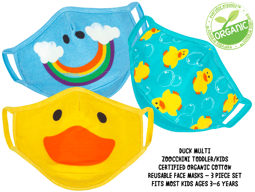 ZOOCCHINI Toddler/Kids 3 Piece Organic Reusable Face Masks Set - Duck Multi