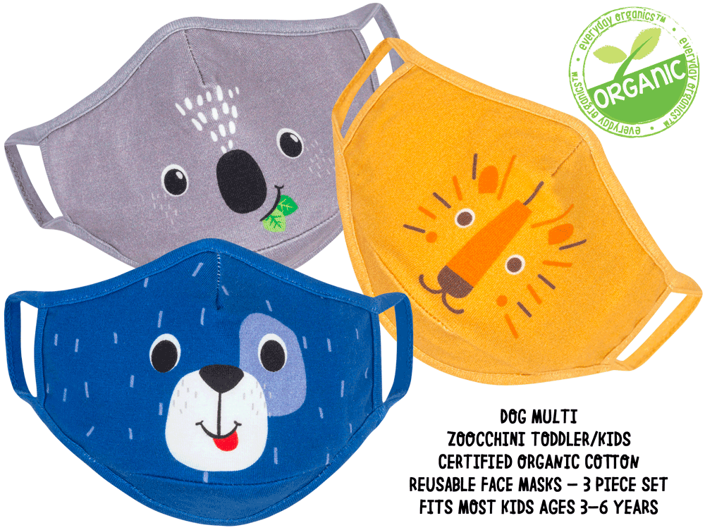 ZOOCCHINI Toddler/Kids 3 Piece Organic Reusable Face Masks Set - Dog Multi