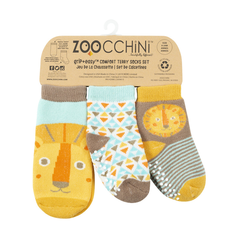 ZOOCCHINI 3 Piece Comfort Terry Socks Set - Leo the Lion